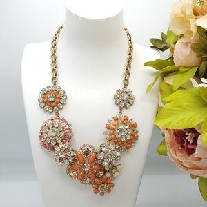 J. Crew Coral Floral Lattice Statement Necklace